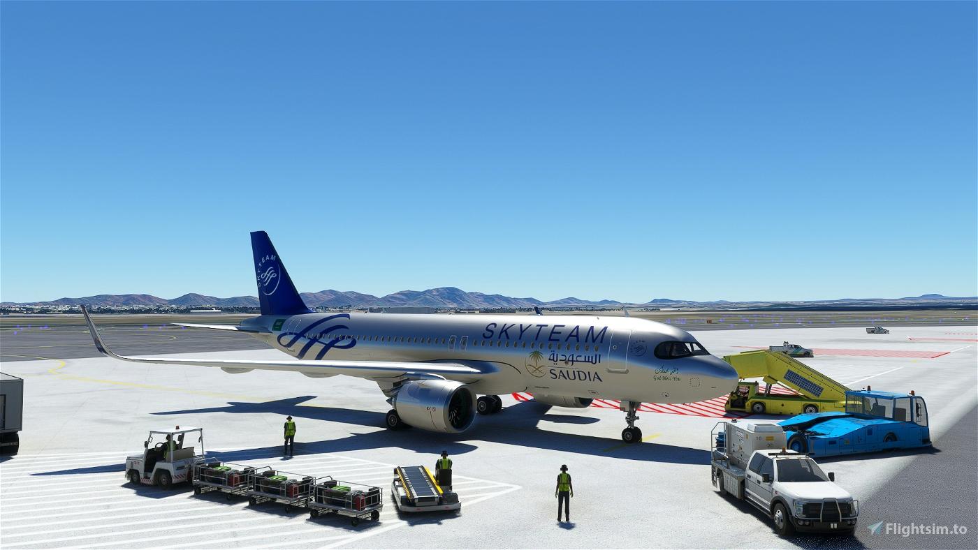 [A32NX] FlyByWireA320neo Saudia Skyteam silver livery 8K Flight Simulator 2020