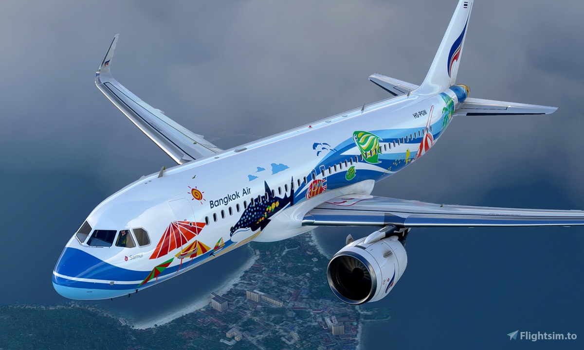 A320 Bangkok Airlines HS-PGW Samui Livery 8K - Asobo version Flight Simulator 2020