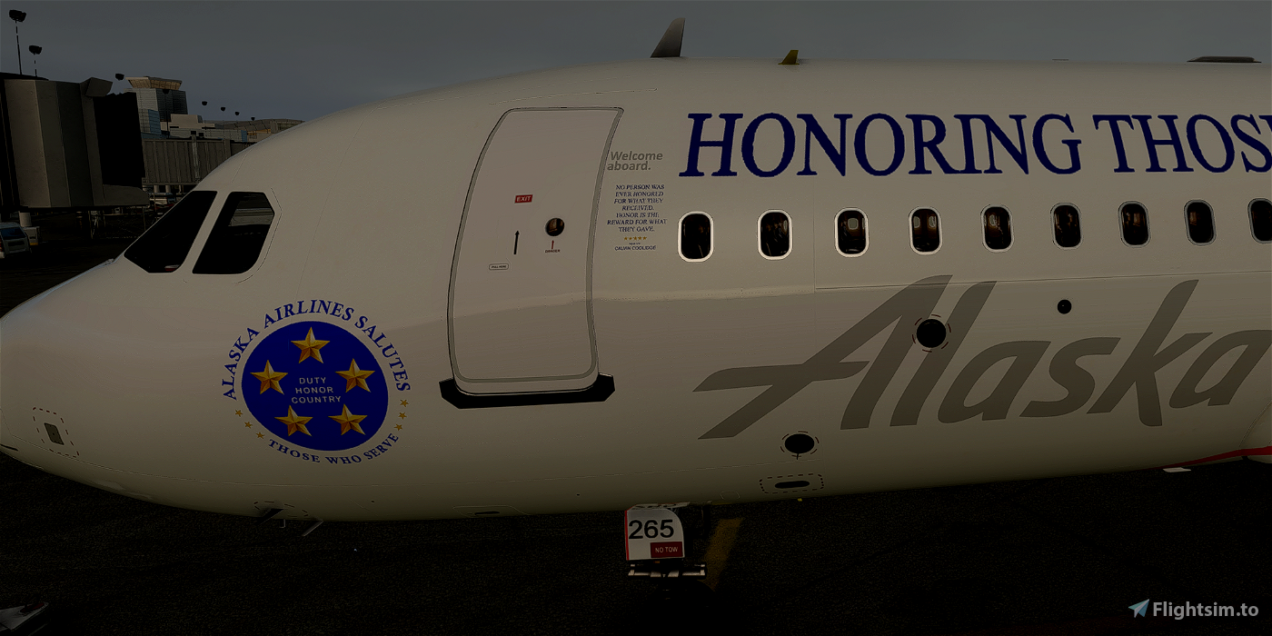 [A32NX] FlyByWire   Airbus A320neo Alaska  HONORING THOSE WHO SERVE N265AK in 8k