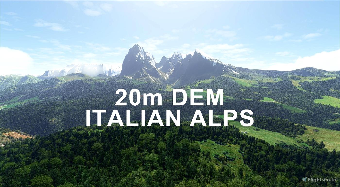 ITALIAN ALPS 20m DEM - High Resolution Terrain Elevation Data from LIDAR Imaging Microsoft Flight Simulator