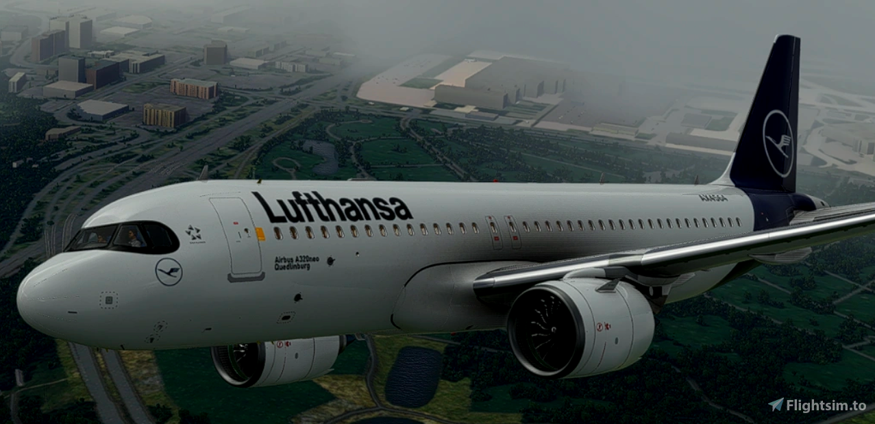 FlyByWire[A32NX]  Lufthansa  [10K] Ultra No Text Mirroring With Custom Coffee Cup D-AIJD
