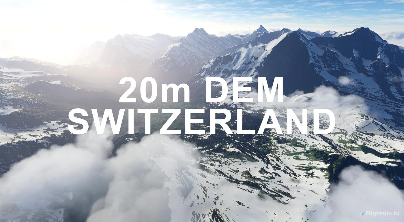 SWITZERLAND 20m DEM - High Resolution Terrain Elevation Data from LIDAR Imaging Microsoft Flight Simulator