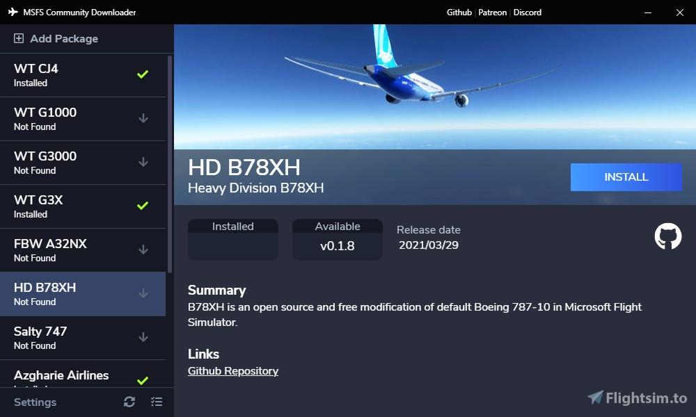 MSFS Community Downloader Microsoft Flight Simulator