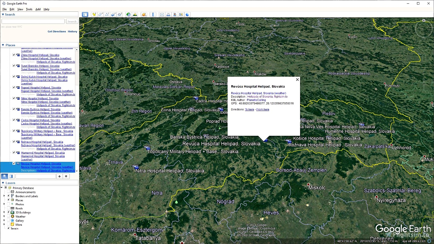 KML(s) and Flight plans for Slovakia Castles, Helipads, Airports and Cities