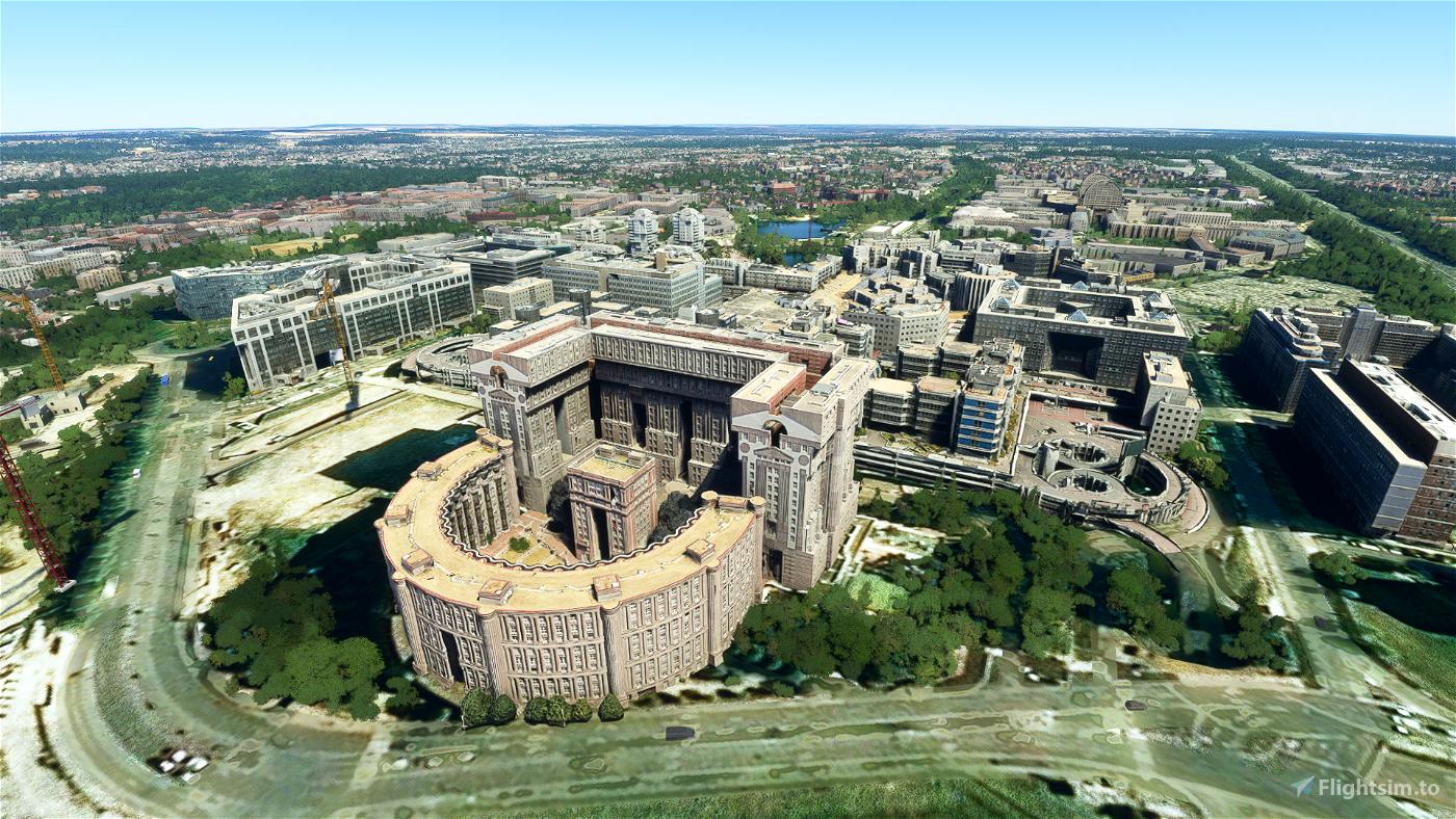 Noisy-le-Grand: Espaces d'Abraxas and other landmarks Microsoft Flight Simulator