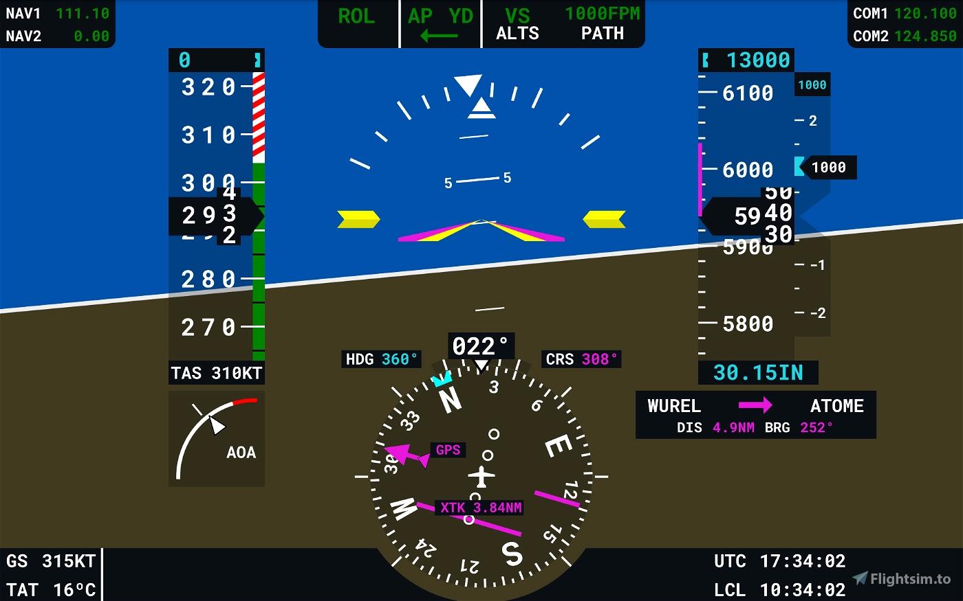 Flight Display Companion (G3000 style display for android) Microsoft Flight Simulator