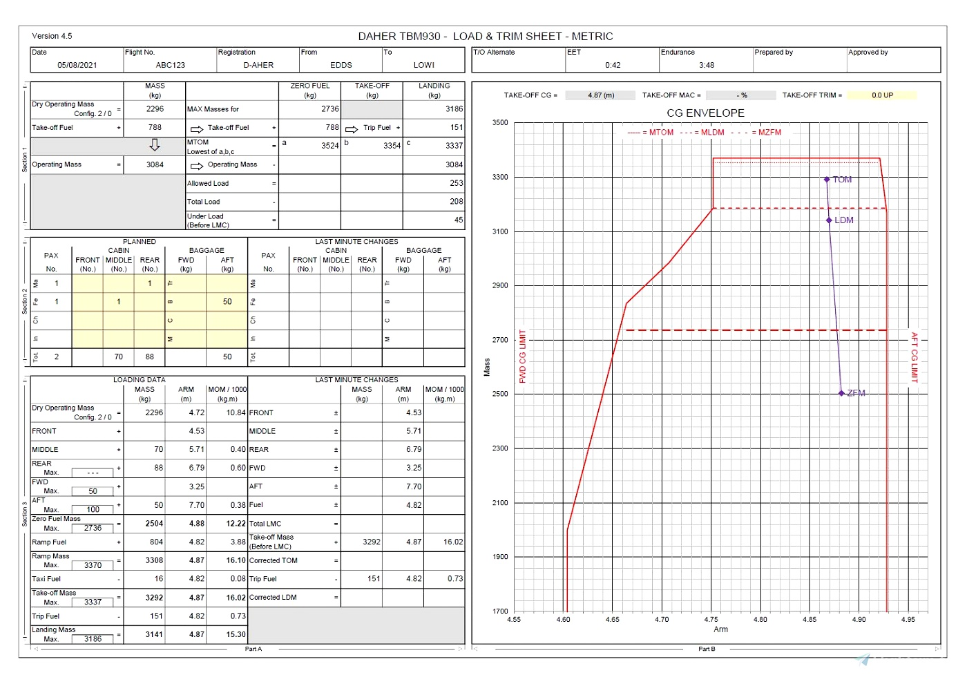 Excel Flight Planning Tool