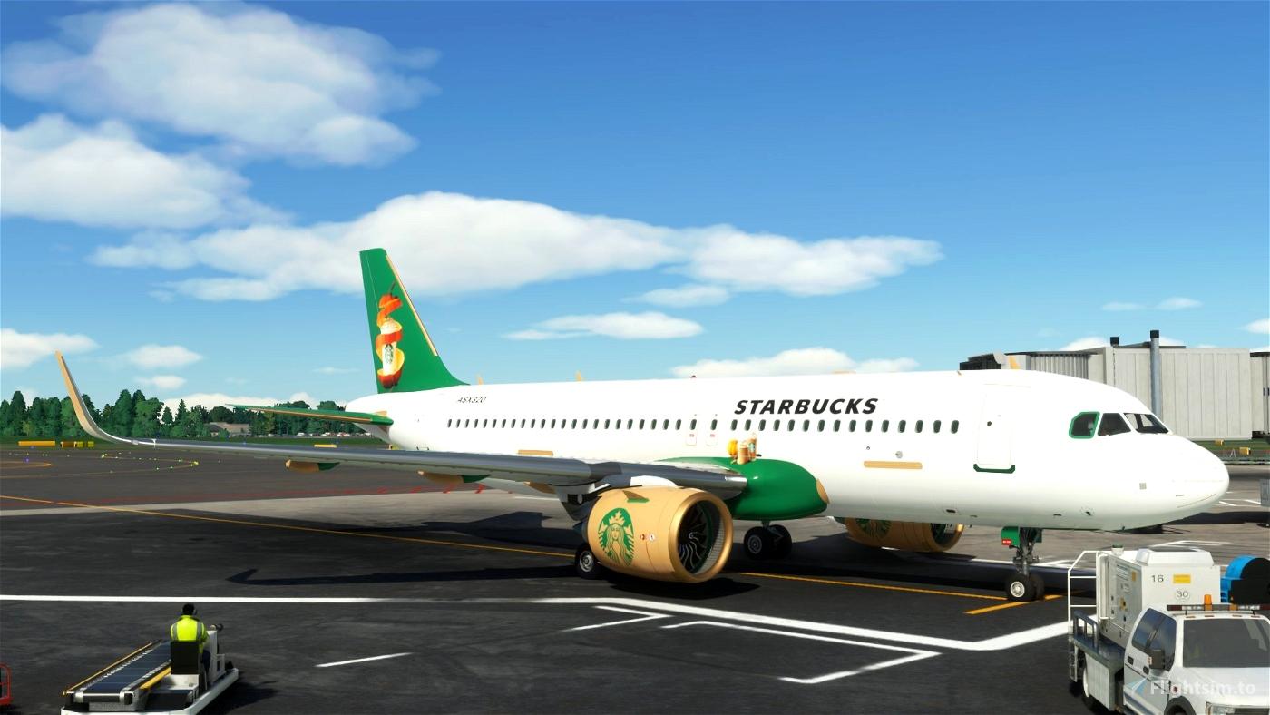 Airbus A32NX Starbucks PSL [8K]  Microsoft Flight Simulator