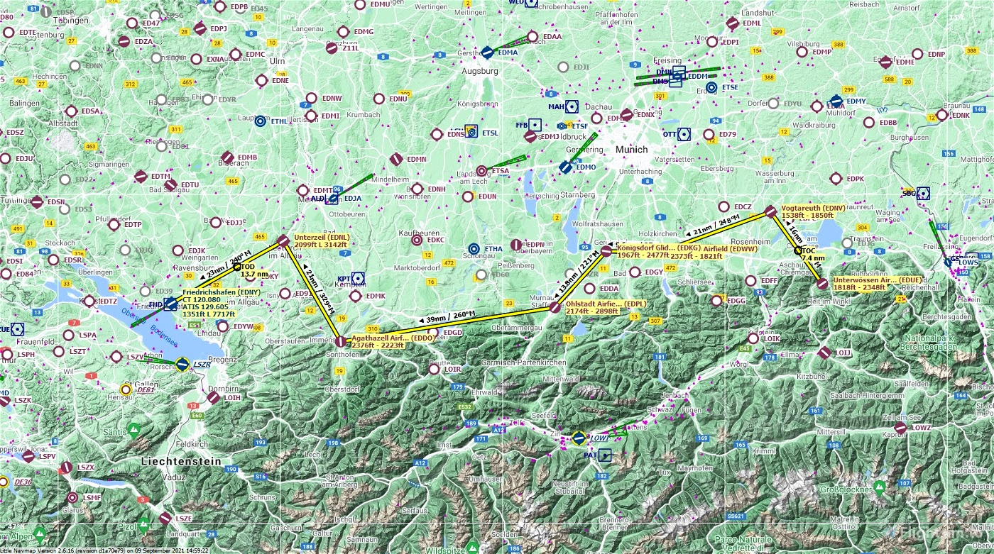 FlightPlan - VFR airfield hopping from Unterwossen to Friedrichshafen, Germany Microsoft Flight Simulator