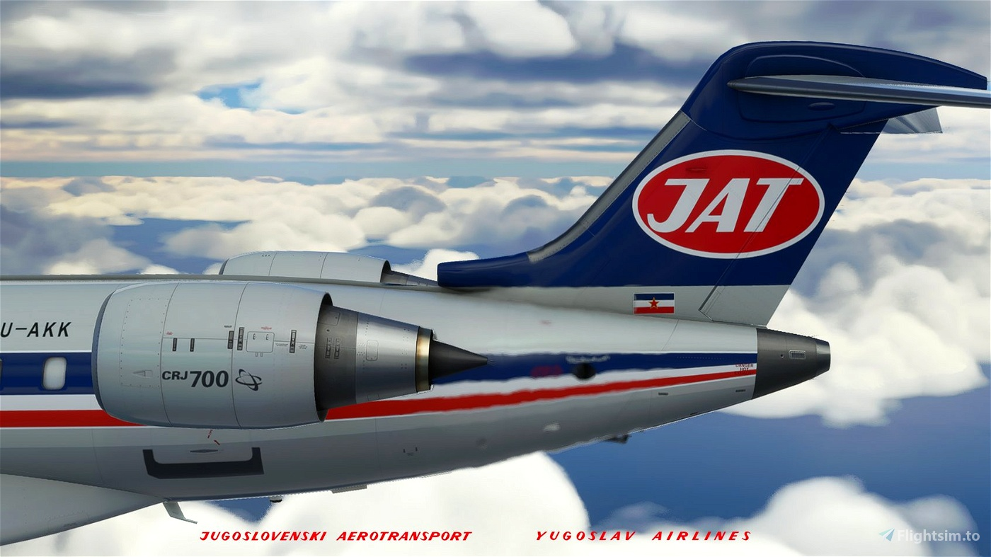 JAT retro livery 1980 (B-727)   crj 700 Microsoft Flight Simulator