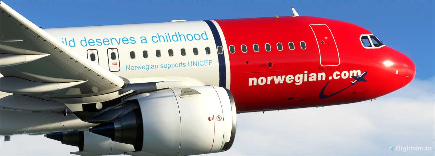 "[A32NX] NORWEGIAN LN-NGE ""UNICEF"" livery 8K"
