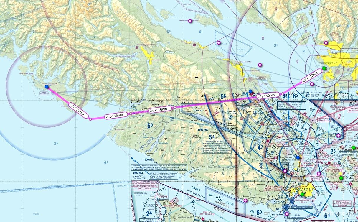 IFR GPS Flightplan Route Vancouver to Tofino Microsoft Flight Simulator